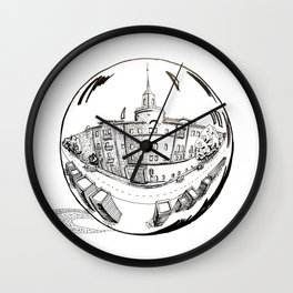 City in a glass ball . Art Wall Clock