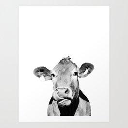 Cow photo - black and white Art Print
