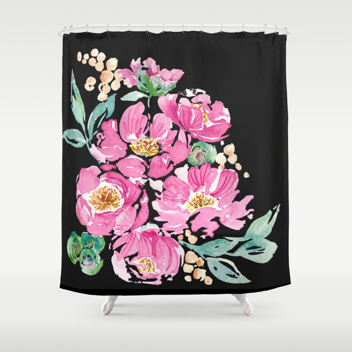 Pink And Black Peony Shower Curtain By Handandheartdesigns