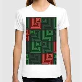 Red and green tiles with op art squares and corners T-shirt