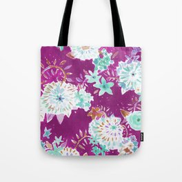 Plum Flourish Floral Tote Bag