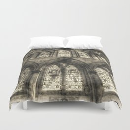 Rochester Cathedral Stained Glass Windows Vintage Duvet Cover