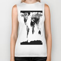 world map Biker Tanks featuring World Map  Black & White by WhimsyRomance&Fun