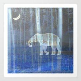 Moonlight with elephant Art Print