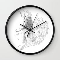 angel wings Wall Clocks featuring Wings by Alessandro Spedicato