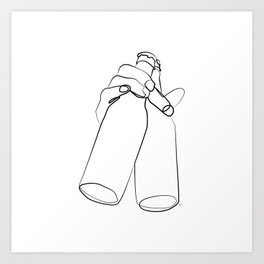 """ Kitchen Collection "" - Hand Holding Two Beer Bottles Art Print"