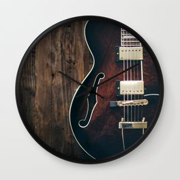 Vintage Electric Jazz Guitar Wall Clock