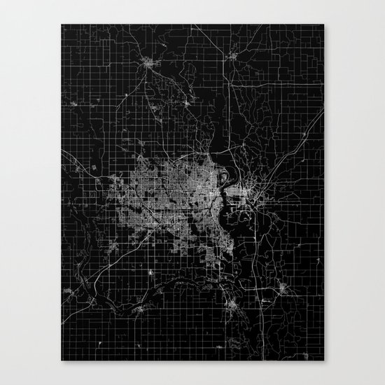 omaha map nebraska Canvas Print