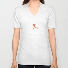 Keep Calm and Run On (male runner) Unisex V-Neck