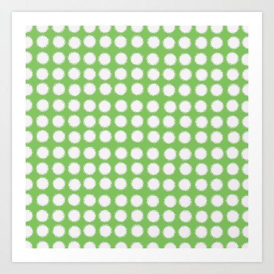 milk glass polka dots in light green Art Print