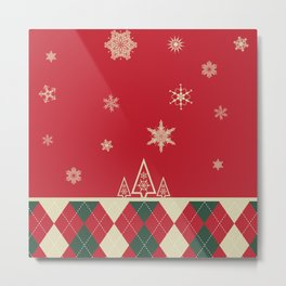 Simple Winter Christmas Illustration with Argyle Print Metal Print