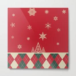 Simple Winter Christmas Illustration with Argyle Print Metal Print
