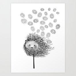 Hedgehog Flower Art Print