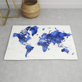 Navy blue watercolor world map with cities Rug