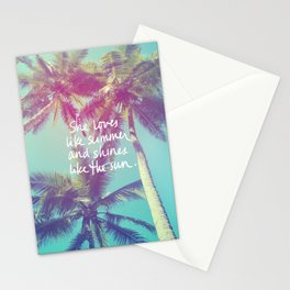 She Loves Like Summer Palm Trees Stationery Cards