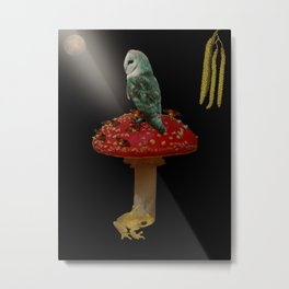 Owl and Friends Under the Moon. Metal Print