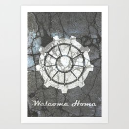 Fallout inspired welcome home, vault door, print, poster, wall art, neutral Art Print