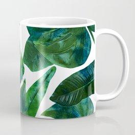 Tropical Nature Monstera Watercolor Painting, Botanical Jungle Dark Palm Illustration Coffee Mug