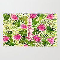 lime Area & Throw Rugs featuring Tropical Wanderlust – Pink & Lime by Cat Coquillette