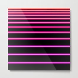 Pink to Red Neon Metal Print