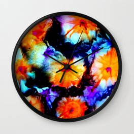 Colorful Abstract Flower Painting Orange Purple Black Wall Clock