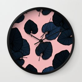 Palm leaves navy Wall Clock