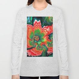 Red Poppy Fractal by Amanda Martinson Long Sleeve T-shirt
