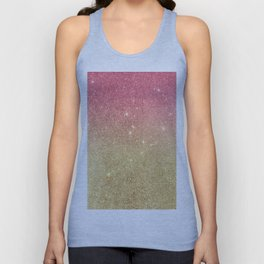 Pink abstract gold ombre glitter Unisex Tank Top