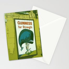 Guinness beer art print - 'Guinness for strength' vintage sign in green - vintage beer poster Stationery Cards