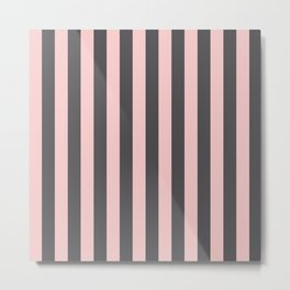 Millennial Pink Blush Coco Brown Neapolitan Stripes Pattern Metal Print