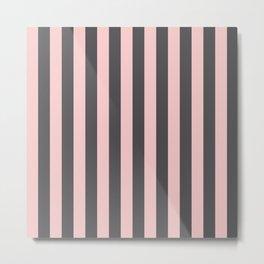 Millennial Pink Blush Coco Brown Neapolitan Stripes Pattern Metal Print