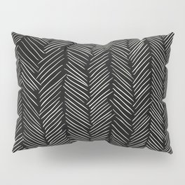 Herringbone Cream on Black Pillow Sham