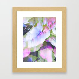 Lush Foliage Glitch - Green and Pink Framed Art Print