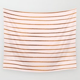 Blush Rose Gold Stripes Wall Tapestry