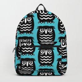 Mid Century Owl Pattern Cerulean 22 Backpack