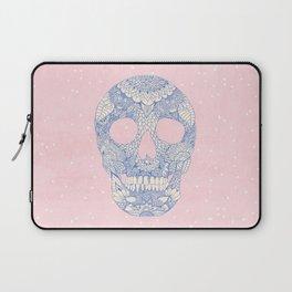 Modern blue ornate skull floral lace mandala illustration pink watercolor Laptop Sleeve