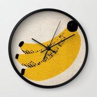 banana Wall Clocks featuring Banana by Roland Lefox