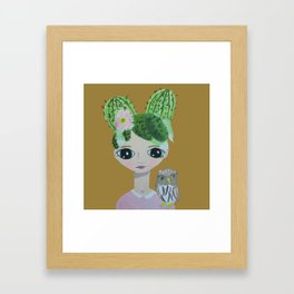 ~ Cactus Hair Clementine & Pygmy Owl ~10 year old Artist Amelia Milly Moo Framed Art Print