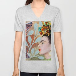Frida Khalo portarait with butterflies Unisex V-Neck