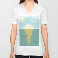 iceland V-neck T-shirts featuring Vanilla Iceland by Stef Rymenants