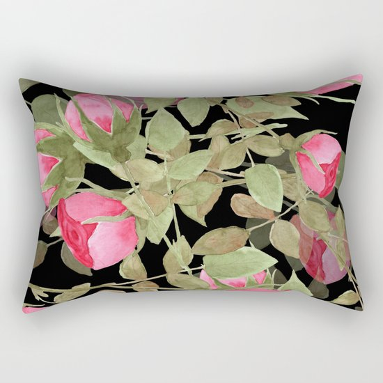 The buds of tender roses on a black background . Retro . Rectangular Pillow