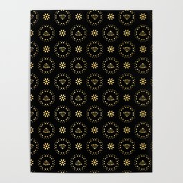 Luxe Gold Black Polka Dot Daisy Pattern, Seamless Vector, Drawn Texture Poster