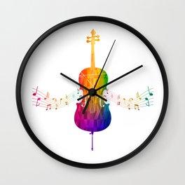 Colorful Cello Wall Clock