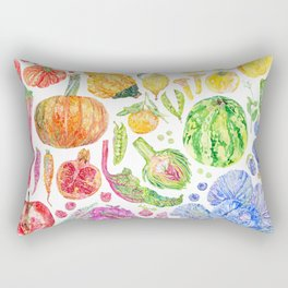 Rainbow of Fruits and Vegetables Rectangular Pillow