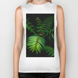 Illuminated Fern Leaf In A Dark Forest Background Biker Tank