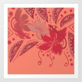 Samoa Watermelon Polynesian Floral Art Print