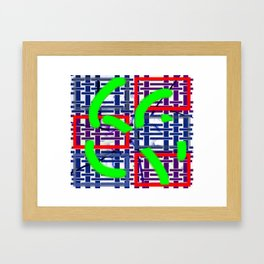 Collage with lines and squares Framed Art Print