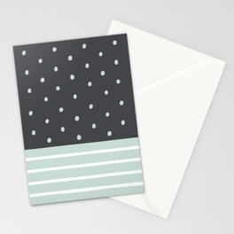 Mint Charcoal Polka Dots & Stripes Stationery Cards