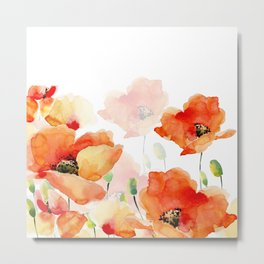 Midsummer Botanical Poppy Garden Metal Print