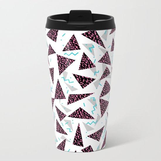 Trendy 80's style geometric triangle retro cool neon pattern art print affordable college dorm decor Metal Travel Mug